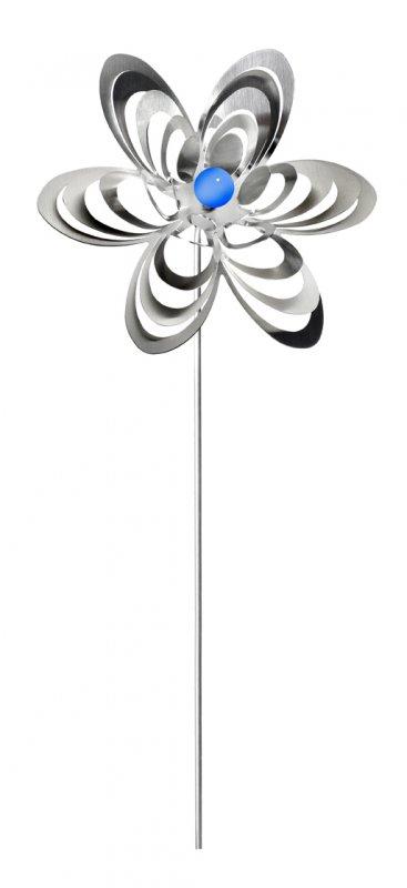 "A3001 - steel4you garden window / decoration ornament ""flower"" stainless steel - blue pearl"