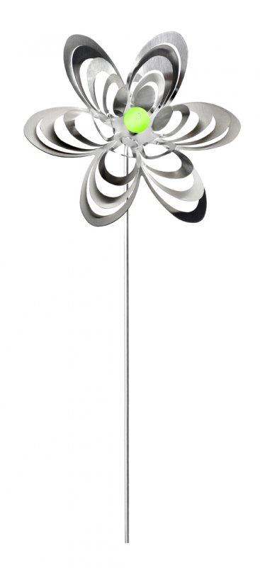 "A3001 - steel4you garden window / decoration ornament ""flower"" stainless steel - green pearl"