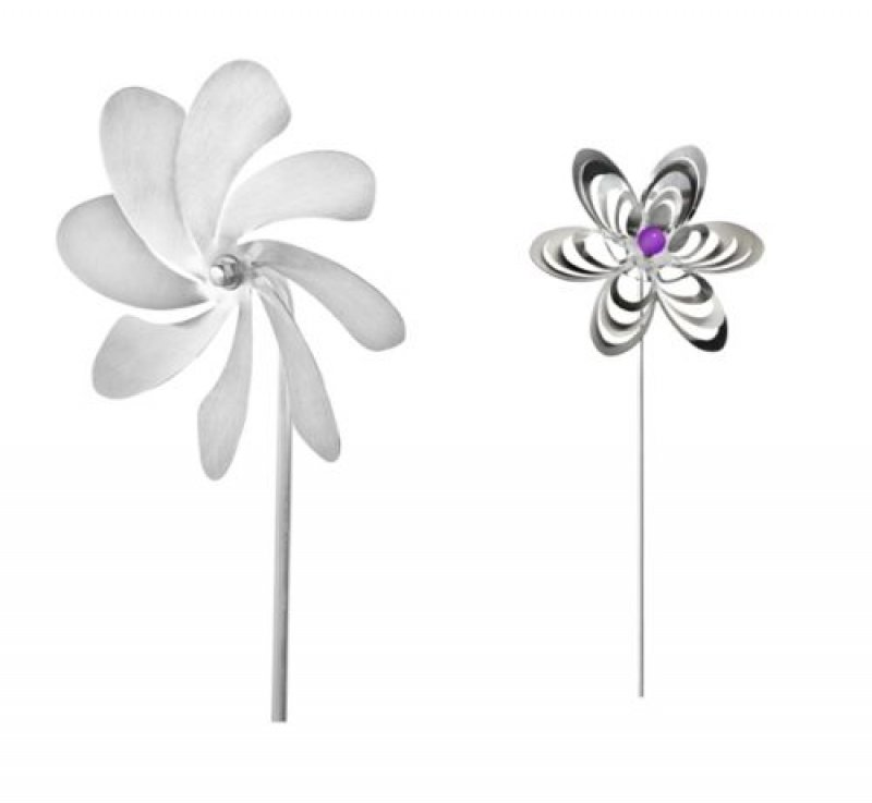A1010 - steel4you SKARAT Produkt-Set: Windrad + Gartenstecker Blume (Farbe wählbar)