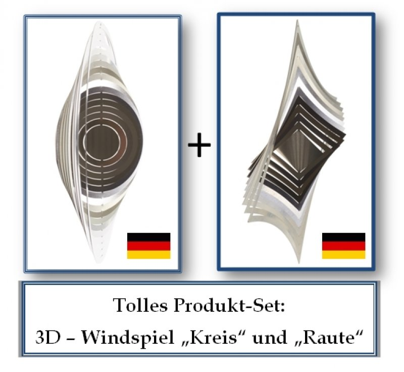 "A2010 - steel4you SKARAT 3D-Windspiel-Set ""Raute"" + ""Kreis"""
