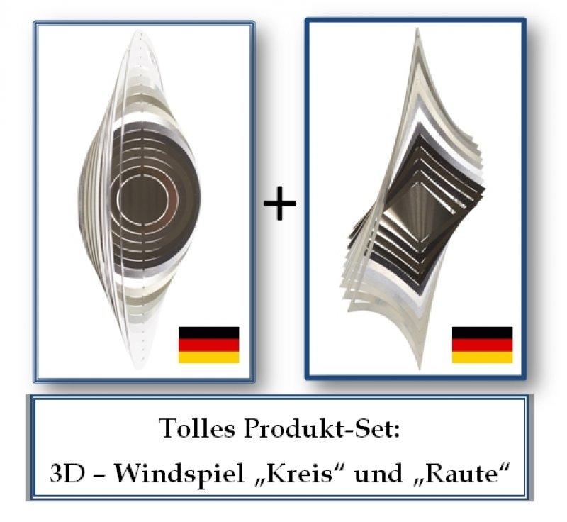"A2010 - steel4you SKARAT 3D-Windspiel-Set ""Raute"" + ""Kreis"""