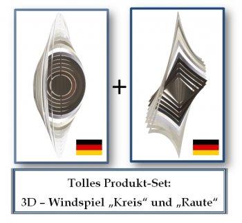 """A2010 - steel4you 3D-Windspiel-Set """"Raute"""" + """"Kreis"""""""