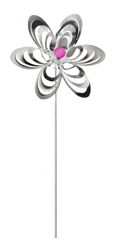 """A3001 - steel4you garden window / decoration ornament """"flower"""" stainless steel - red pearl"""
