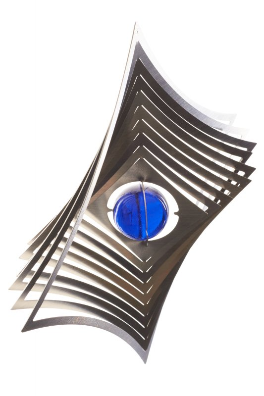 """A2004 - steel4you wind chime """"diamond"""" with glass bead (blue)"""