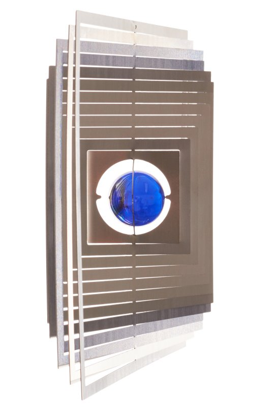 """A2005 - steel4you wind chime """"square"""" with glass bead (blue)"""