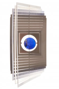 A2005 - steel4you 3D-Windspiel Quadrat mit blauer Glasperle