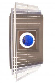 A2005 - steel4you 3D-Windspiel Quadrat mit blauer Glasperle