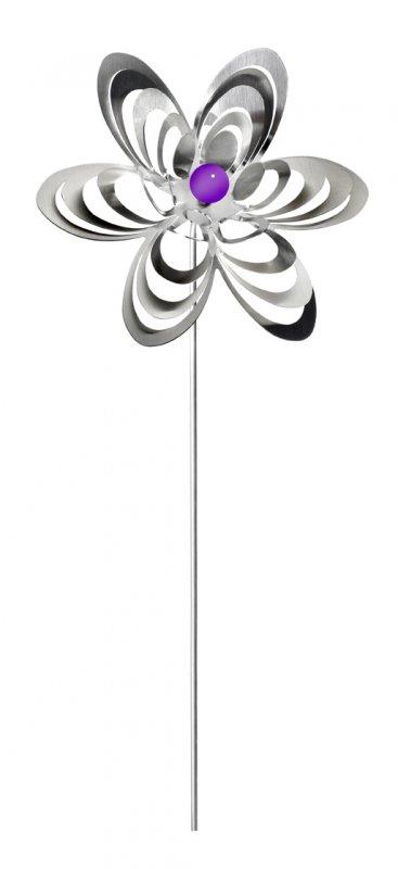 "A3001 - steel4you garden window / decoration ornament ""flower"" stainless steel - purple pearl"