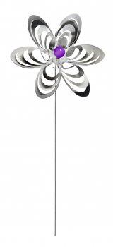 A3001 - steel4you Gartenstecker Deko Blume mit lila Polaris-Perle