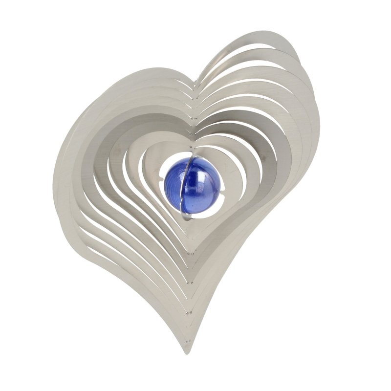 """A2008 - steel4you wind chime """"heart"""" with glass bead (blue)"""